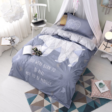 Svetanya Single Cotton Bedlinen White Bear Printed flat Sheet Pillowcase and Quilt cover Bedding Set(China)