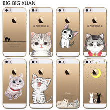Fashion Phone Case For iPhone 5 5S SE 5C Cute Cat Soft Silicon Mobile Phone  Cover Coque Capa Para Celular