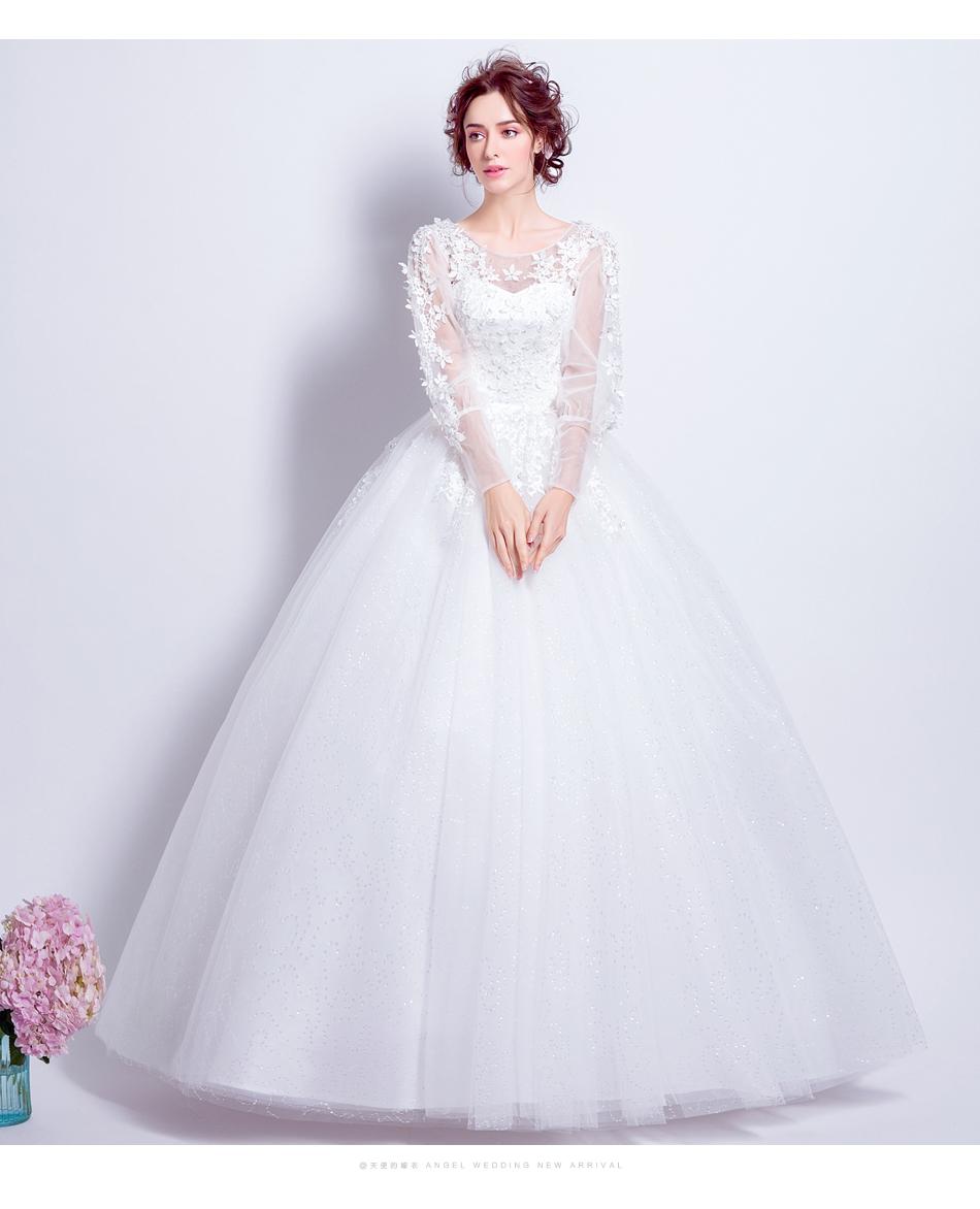 Angel Wedding Dress Marriage Bride Bridal Gown Vestido De Noiva 2017 Sweet, lace, flowers, long sleeves, 6011 10
