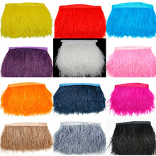 8-10cm 100% Natural Ostrich Feather Trims Fringe Stripe Ribbon 100cm Long for Women Bride Wedding Dress/Skirt Costume Decoration
