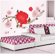 """Life is the flower for which love is the honey"" Quote Red Rose Wall Stickers Decal Living Room Home Decor Pegatinas de Pared(China)"