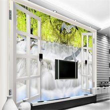 beibehang Large custom wallpapers beautiful 3D outdoors waterfalls landscape TV backdrop vinyl flooring adhesives
