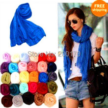 Hotsale S231 Women Fashion Solid Cotton Voile Warm Soft Scarf Shawl Cape 185cmx85cm 24 colors(China)