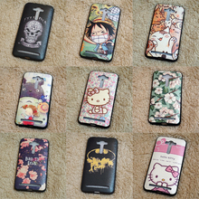 Luxury Cats Hello Kitty Case For Coque ASUS ZenFone 2 Lazer ZE550KL Cases Superman Batman Back Cover TPU Silicone & PU leather(China)