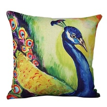 Colorful Attractive  linen blend Beautiful Attractive  Peacock Fashion Sofa Bed Home Decoration Cushion Almofadas Infantil