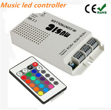 12V RGB LED Music Controller with 24-key IR Remote Sound-activated 3 Channels Output for RGB Products and RGB LED Strip Lights
