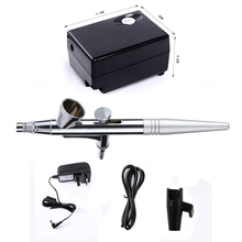 Air Brush Compressor Airbrush 0.4mm Needle Foundation makeup Kit Air Gun For Face Paint Airbrushes Nail Temporary Tattoo Kit(China)