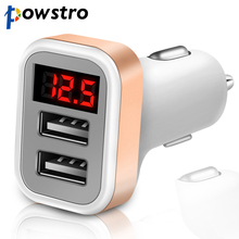 Powstro 2.1A Car Charger Voltage Current Display 2 USB Charger DC12-24V Low Voltage Warning Charge For Cellphone Tablet DVD