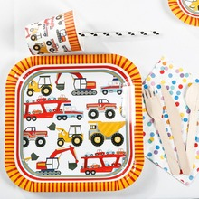 Riscawin Cartoon Car Theme Paper Plates Set Birthday Party Decoration For 8 Packs Disposable Tableware Set Baby Shower Supplies(China)