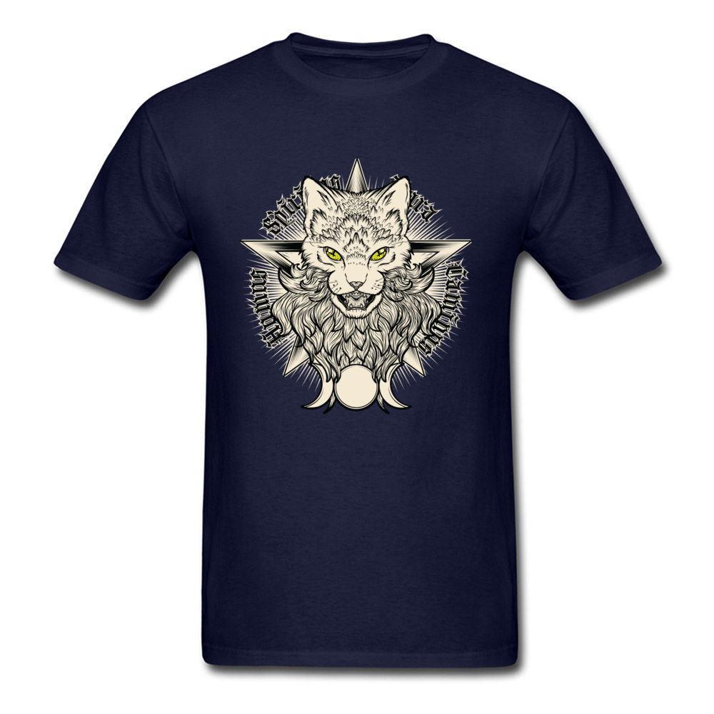 Wiccat O-Neck Top T-shirts Fall Tops Shirt Short Sleeve Company 100% Cotton Design Top T-shirts Leisure Men Wholesale Wiccat navy