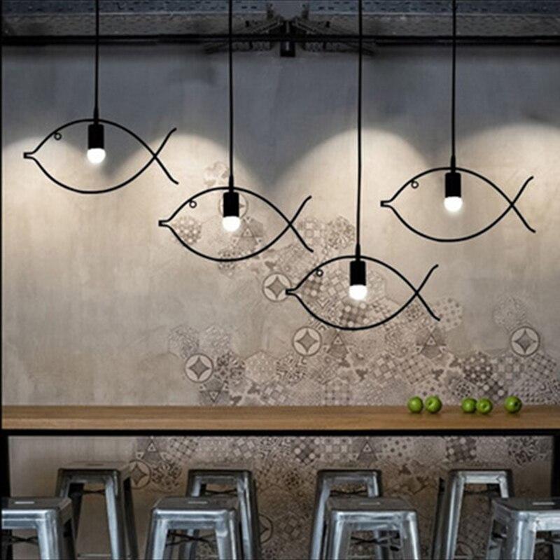 SINFULL Loft creative fish pendant lights iron bar exhibition black Living room suspension lighting restaurant luminaria lamps<br>