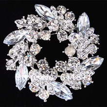 Vintage Silver Tone Leaf Flower Wreath Wedding Bridal Bouquet Brooch Hot Selling 4PCS/LOT Cheap Brooch Pins