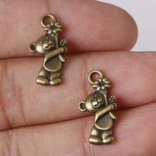 Hot Sale 19*10mm 11pcs Zinc Alloy Charms Antique Bronze Plated Bear Charms Pendants Metal Jewelry Findings Fit DIY