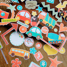 ZLDECOR 40pcs Cartoon Car Colorful Cardstock Die Cuts for Scrapbooking Happy Planner/Card Making/Journaling Project DIY(China)