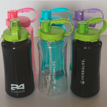 New candy color Herbalife 2000ML Purple pink Green with handgrip Straw strap BPA Free Plastic Travel Hiking water bottle(China)