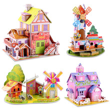 Hot Sale 3D Windmill Eiffel Tower Farmhouse Style Stereo House Colorful Puzzle Board Baby Kid Children's Educational Toys(China)