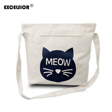 EXCELSIOR Cute Cartoon Cat Pattern Women Canvas School Bag Girls Casual Protable Strap Shopping Shoulder Bags Bolsas Feminina(China)