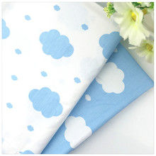 2016 New Blue Cloud Twill 100% Cotton Fabric DIY Sewing Baby Bedding the Cloth Home Textile Material Telas to Patchwork(China)