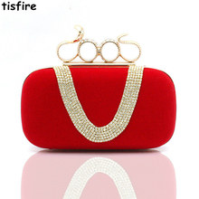Europe and the United States tide female bag set auger dinner will bag suede bag xia diamond hand caught dress packet ring pack
