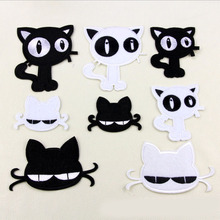 8pcs/lot Black write Kitty cat patches cartoon animal embroidered Iron On patch garment Appliques accessory
