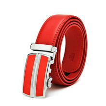 Red Color Genuine Leather business belt Men's Automatic buckle belts for man free shipping fashion Classic