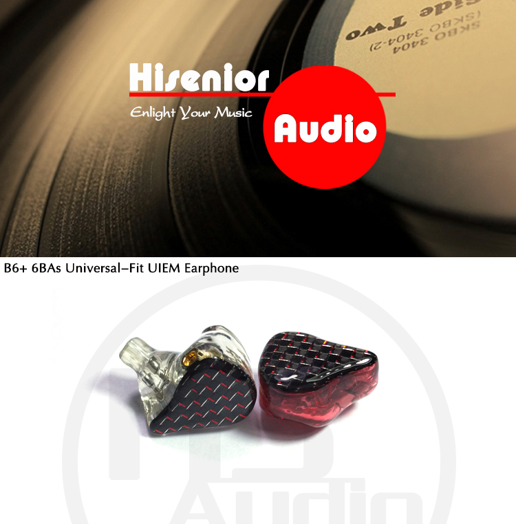 Hisenior B6 6 12BAs Driver Universal Fit Balanced Armature In-Ear Monitor IEM Noise Cancelling Custom Earphone DHL Free Shipping