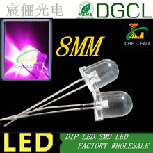 Free shipping Pink 8mm through hole led Water clear high flux dip led 3.0-3.5V(CE&Rosh)