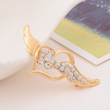 Hot Wholesale Cheap Quality Fashion Silver Gold Heart Wing Elegant Wedding Brooch Pins Women Brooches Wedding accessories(China)
