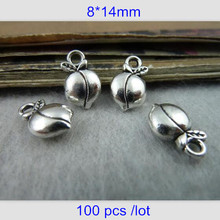 100 Peach Charms Antique Silver Tone Two Sided Cute and Dainty 8*14mm Adorable Peach Charms Work Well With Many Projects