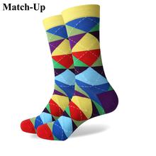 Match-Up Colorful ARGYLE SOCK fun men's Cotton Socks Wedding Gift Socks Free shipping US size(7.5-12)(China)