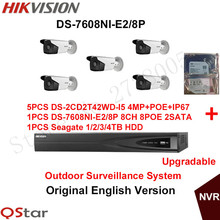 Hikvision Original English Security Camera System 5pcs DS-2CD2T42WD-I5 4MP IP CCTV Camera POE+6MP Recording NVR DS-7608NI-E2/8P