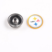 20PCs/lot Wholesale 18MM Glass American Football Team Pittsburgh Steelers Snap Button  Fashion Charm For Snaps Bracelets