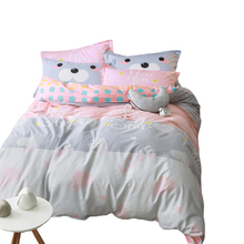 simple Cartoon grey bedclothes Twin Queen Double size 100% Cotton Bed linen bedding set Quilt/Duvet Cover Bedsheet pillowcase(China)