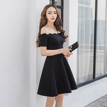XMYF8800#The wave collar black bridesmaid dresses new spring and summer of 2017 short bride marries a toast wedding party dress