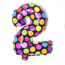Dot colours digit Wave point number 0 to 9 foil balloons birthday party Digital balloon wedding Christmas decoration air balls