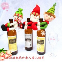 3Pcs/set Xmas Santa Claus enfeites de natal Red high quality Wine Bottle Cover Bags navidad Table Dinner christmas decoration