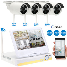 "10.1"" LCD 4CH HD 720P WiFi NVR Kit with 4pcs 1.0MP Waterproof Night Vision Wireless IP Camera CCTV Security Surveillance System(China)"