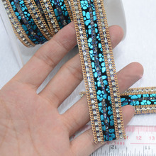 2017 New High Grade Blue Striped Seam Rhinestone Applique Ribbon Trim Belt Adhesive Patches 25mm Stick Directly DIY Accessories