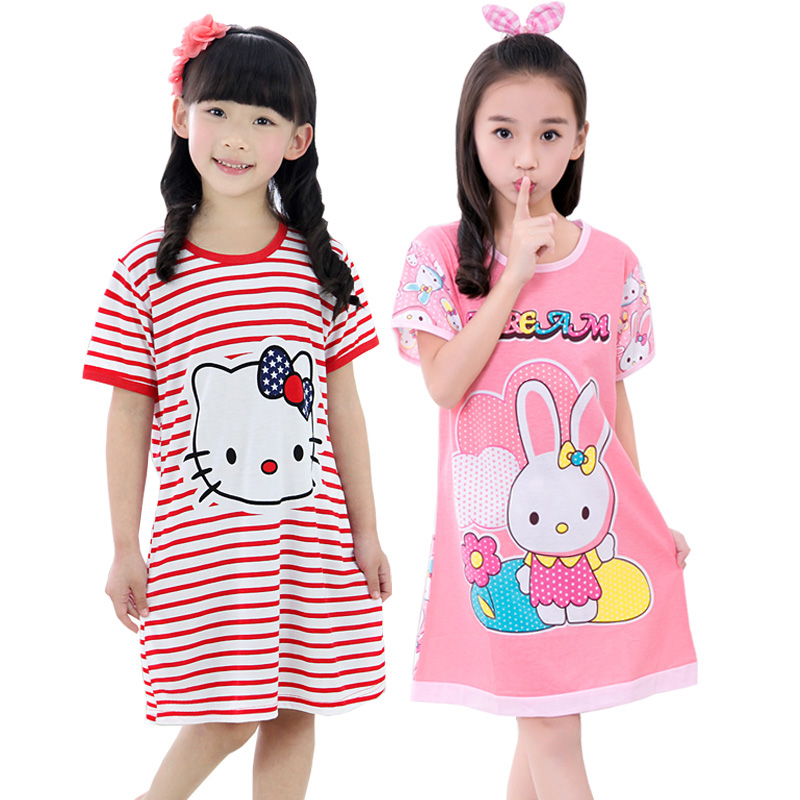 2017 Girl cotton Nightgowns Dress Pyjamas for Girls Summer Kitty Stripe Girls Sleepwear Dress for Girls Soft Pajamas Dress(China (Mainland))