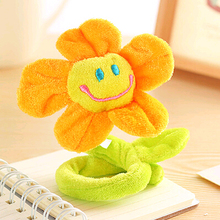 Korea sunflower curtain buckle lovely smiling face plush curtains flower curtain clips bind rope