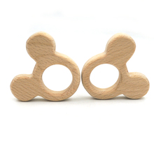 20PCS mouse mice rabbit head beech elephant teether wood pendant for baby mother accessory Australia SGS SAFE EA272(China)