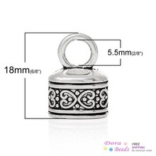 "8SEASONS Necklace Cord End Tip Beads Caps W/Loop antique silver-color Pattern Carved 18mm x 13mm( 6/8"" x 4/8""),50PCs (B35470)(China)"