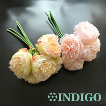 INDIGO- (50 Bundle=250pcs) Chinese Herbaceous Peony Bouquet Decorative Silk Flower Faux Wedding Flower Party Free Shipping(China)