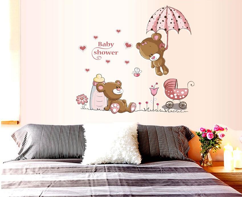 HTB1uCP4m22H8KJjy0Fcq6yDlFXaP - Pink Cartoon Cat Rabbit Flower Wall Sticker For Baby Girls Kids Rooms