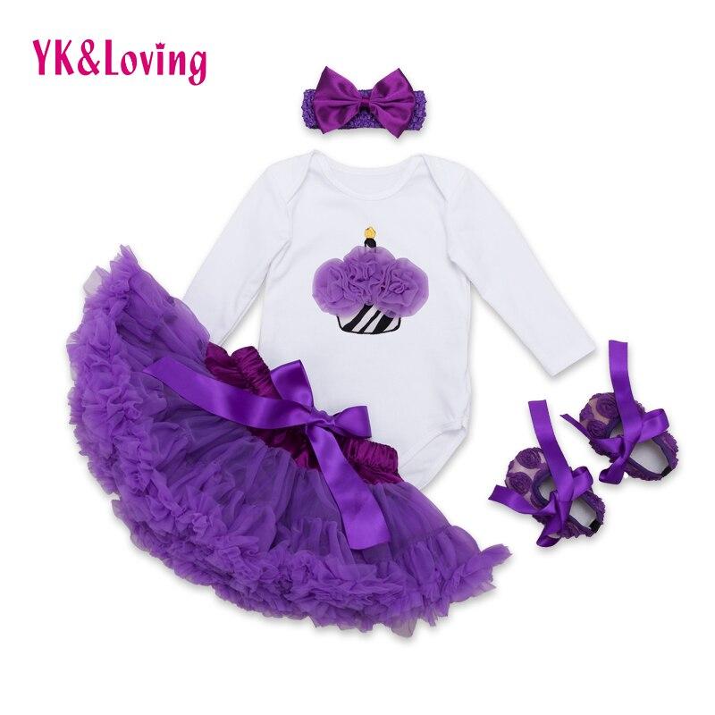 Clothes for Baby Girls Kids 4pcs Skirts for Girls White Long Sleeve Cake Purple Pettiskirt YK&amp;Loving Infant Bodysuit Gift F5030<br><br>Aliexpress