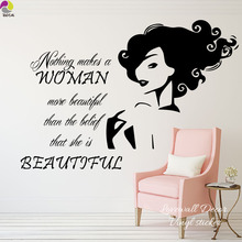 Nothing Makes A woman Beautiful Quote Wall Sticker Manicure Barber Spa Shop Wall Window Door Decal Decor Cut Vinyl Art Mural