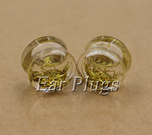 6 pairs gold stripe glitters transparent acrylic liquid plug gauges saddle ear plugs flesh tunnel 10mm-20mm LSP0007