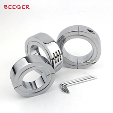 BEEGER Locking Hinged Cock Ring,Help your cock last longer during sex with a steel hinged cock ring,3 size for choice