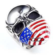 New Arrivals American flag pattern Masked Skull head Titanium Steel Men's Ring Black Drip oil Club rings Bulk Price(China)