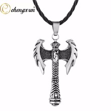 CHENGXUN Men Necklace Ethnic Cool Style Ancient Greece Viking Axe Weapon Pendant Teen Boys Gift Amulet Fashion Jewelry 2017(China)